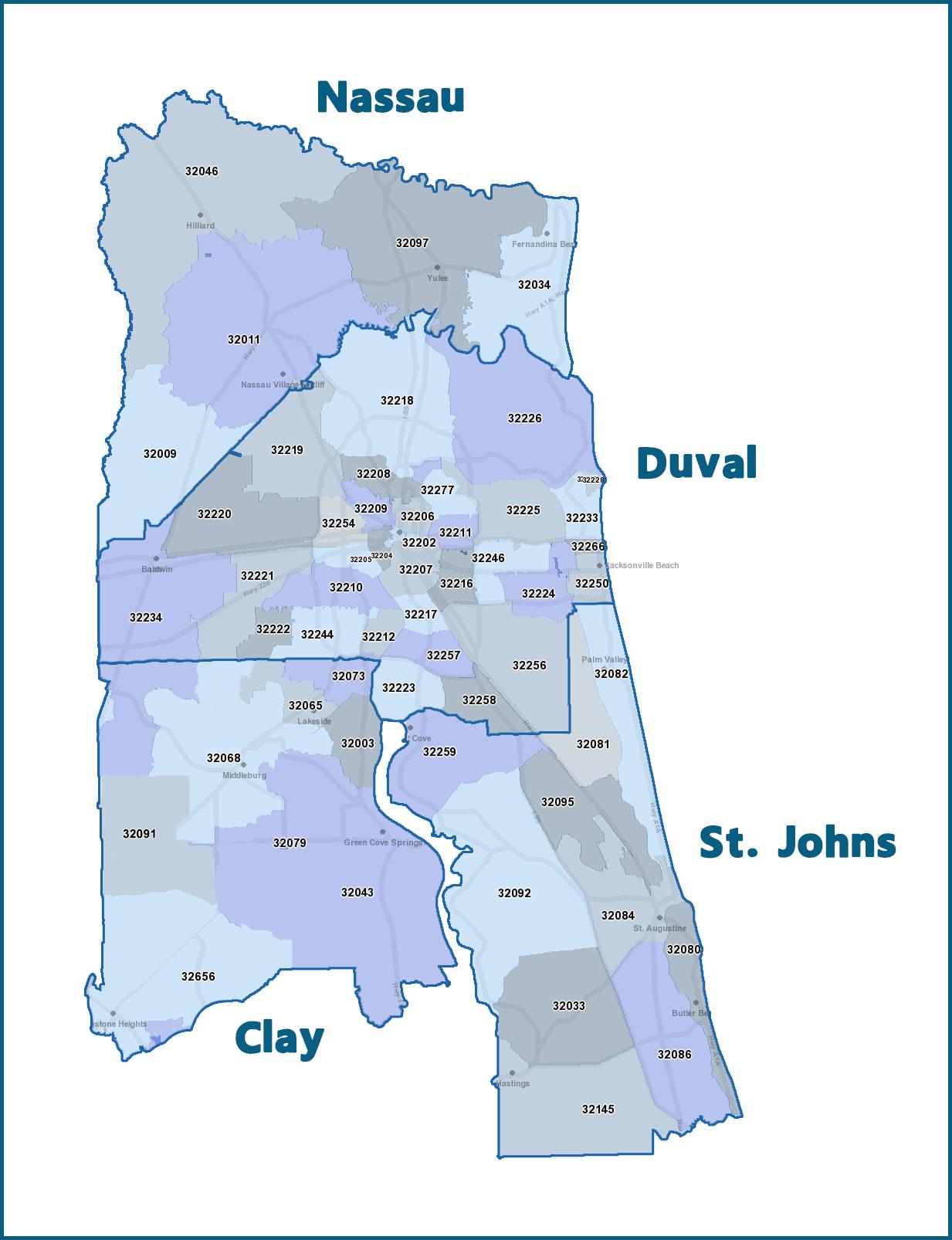 Zip Code Strategy – First Coast United Zip Code Map Of Northeast Florida on map of savannah zip code, map of atlanta zip code, map of long island zip code, map of broward zip code, map of memphis zip code, map of new orleans zip code, map of jacksonville zip code, map of phoenix zip code, map of gainesville zip code, map of detroit zip code, map of seattle zip code, map of orlando zip code, map of upstate new york zip code, map of austin zip code,